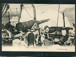 """CPA - (A Bord De """"LA PATRIE"""") - Tir D'une Pièce De 27 Cm, Très Animé - Guerre"""