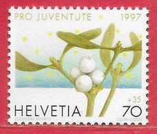 Fleur Gui Noël Poison - Suisse N°1557 70c + 35c 1997 ** - Toxic Plants