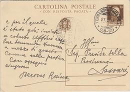 Terranova Pausania. 1935. Annullo Frazionario (58 - 97 ), Su Cartolina Postale - Storia Postale