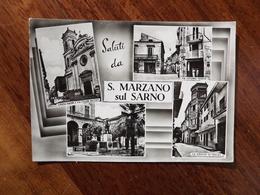Q603 CARTOLINA SALUTI DA SAN MARZANO SUL SARNO  VEDUTINE SALERNO VIAGGIATA - Salerno