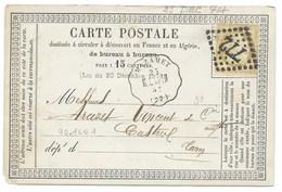 N° 55 CERES BISTRE SUR CARTE POSTALE / AMBULANT MAZAMET POUR CASTRES 1874 - Marcophilie (Lettres)