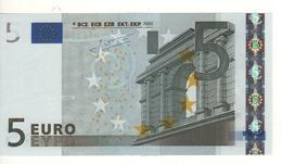 "5 EURO  ""M"" Portogallo    Firma Trichet    U 006 J2  /  FDS - UNC - EURO"