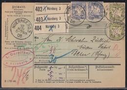 Bayern Paketkarte Für 3 Pakete Mif Minr.9x 57,2x 66 Nürnberg 12.5.06 Gel. In Schweiz - Bayern