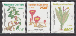 2013 Cote D'Ivoire Ivory Coast Flora Flowers Plants  Complete Set Of 3 MNH - Côte D'Ivoire (1960-...)