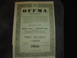 """Part Sociale""""OFFMA""""Laiteries Offermans Liège 1951 Produits De La Ferme Très Bon état,reste Des Coupons - Agriculture"""