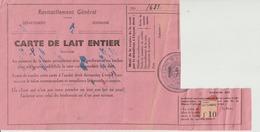 RAVITAILLEMENT GENERAL - CARTE DE LAIT ENTIER - 1940 - TROIS QUARTS DE LITRE - CARTE D'ALIMENTATION - SOSPEL - BEVERA - Historische Dokumente