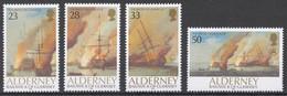 Alderney 55-58** SHIPS, BATTLE OF LA HOGUE, 300th ANNIV. - Alderney