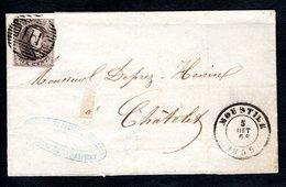 10A Sur LSC Expédiée De Moustier à Destination De Châtelet. Cachet D'arrivée De Châtelet Ou Verso. - 1851-1857 Medallions (6/8)