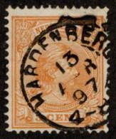 """NTH SC #40 U 1894 Princess Wilhelmina W/SON """"HARDENBERG/13 APR 97/4-8"""" CV $2.30 - Period 1891-1948 (Wilhelmina)"""