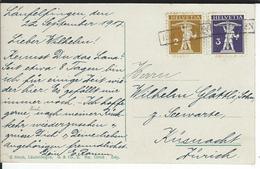 SBK 123 II, 124, Mi 111 II, 112 II, Kastenstempel Hauenstein (1917) Nach Küsnacht - Covers & Documents