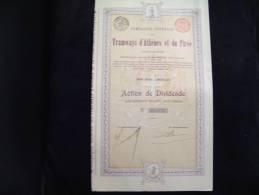 """Actionde Dividende""""Tramways D'Athènes Et Du Pirée""""1907 Bon état,reste Tous Les Coupons - Bahnwesen & Tramways"""