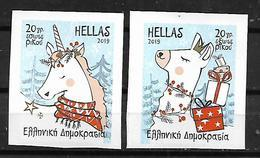 GREECE 2019 Christmas '19 2 Self-adhesive Stamps From The Booklet MNH LUX - Greece