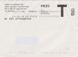 Toshiba Du 11-10-19 (suffixe 64) 7 Signes Inférieurs Et Supérieurs Lettre T Prio Absence De Paramétrage - Marcofilie (Brieven)