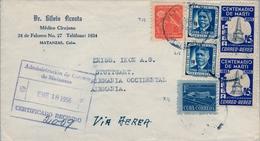 1956 , CUBA , MATANZAS - STUTTGART , CERTIFICADO , LLEGADA , RETIRO COMUNICACIONES , JUAN GUALBERTO GÓMEZ , CENT. MARTÍ - Cuba