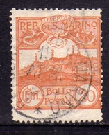 SAN MARINO 1903 VEDUTA VIEW  LANDSCAPES  CENT. 20c  USATO USED OBLITERE' - San Marino