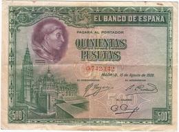España - Spain 500 Pesetas 15-8-1928 Pk 77 A Sin Serie Ref 674-2 - [ 1] …-1931 : Primeros Billetes (Banco De España)