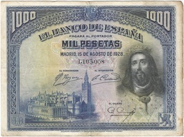 España - Spain 1.000 Pesetas 15-8-1928 Pk 78 A Sin Serie Ref 675 2 - [ 1] …-1931 : Primeros Billetes (Banco De España)