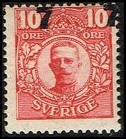 1918. Gustav V. 7 On 10 öre Carmine. Sharply Misplaced Surcharge. 107 ÖRE 107 ÖRE (Michel 109 (Facit 99v1)) - JF317252 - Neufs