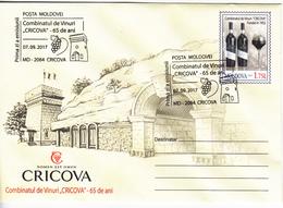 Moldova , Moldavie , Moldau  , 2017 , Cricova Winery - 65 Years , Wine , Grapes ,  Vin , Vino , Pre-paid Envelope  , FDC - Moldawien (Moldau)