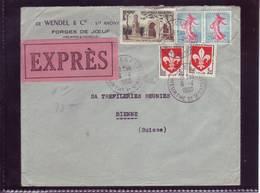 Lettre Express De Jouef (Moselle) Pour Bienne (CH) 1960 - Covers & Documents