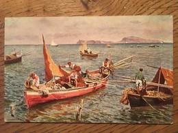 CPA, Illustrateur Signé, L'Isola Di Capri Vista Dal Golfo Di Napoli, Barca Da Pesca,éd Ragozino, écrite, Italie - Italy