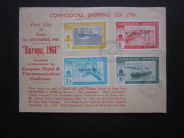 1961 COMMODORE SHIPPING CO. LTD. CARD WITH GUERNSEY-SARK  LABELS CANCELLED ON FIRST DAY OF ISSUE - Advertising