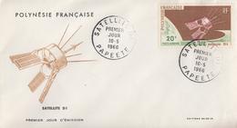 Enveloppe  FDC  1er Jour  POLYNESIE   Satellite   D1  1966 - FDC