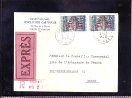 Express / Recommandé De Caen (Calvados) 1967 Pour Berne (CH) - Covers & Documents