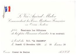 """LE VICE-AMIRAL MALER .COMMT DES FORCES MARITIMES FRANCAISES EN OCEAN INDIEN PRIE...A BORD DU """"B.B. LA CHARENTE""""1976 - Documents"""