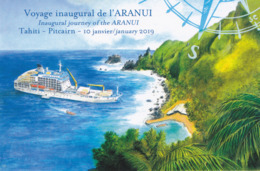 Carte Postale 2019 : Voyage Inaugural De L'ARANUI. Tirage 700 Ex. Prix : 3,50 € - Entiers Postaux