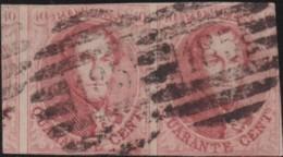 Belgie     .    OBP        .    12 Paar (2 Scans)     .       O      .        Gebruikt  .   /   .  Oblitéré - 1858-1862 Medaillen (9/12)