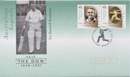 Australia 2001 Legends Bradman Cricket - The Don FDC - Ersttagsbelege (FDC)