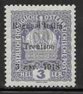 Italy Occupation Austria Scott # N33 Mint Hinged Austria Stamp Overprinted, 1918 - Austrian Occupation