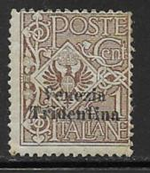 Italy Occupation Austria Scott # N52 Mint Hinged Italy Stamp Surcharged, 1918 - Austrian Occupation