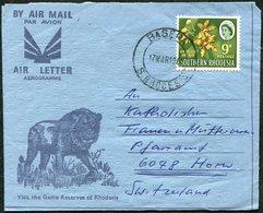 S. Rhodesia 1966 LION Löwe Aerogramme BASERA (Mutero Mission Gutu) Franked Ansellia Orchid Air Letter Cover >Switzerland - Felinos