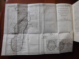Madagascar, Bourbon (Réunion), Ile Maurice (Ile De France)  : Rare Ouvrage De 1784 Avec Carte Dépliante Des Iles - Livres, BD, Revues