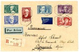 SURTAXE 380 / 385 BAS RHIN ENV 1938 BUST AGENCE POSTALE (517 HABITANTS EN 1936) LETTRE RECOMMANDEE => BOUZARIA ALGERIE . - Storia Postale