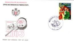 """(Faciale = 2.82 €) """" XVéme PREMIERE RAMPE """" Sur Enveloppe 1er Jour De MONACO De 2003. N° 2383. FDC - FDC"""