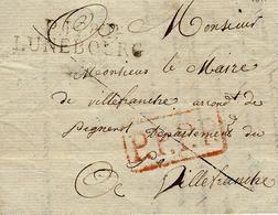 1811- P.128.P. / LUNEBOURG ( Les Bouches De L'Elbe ) 45 Mm  Black  +P.P.P.P.red ( French Mark )to Villefranche - Marcophilie (Lettres)