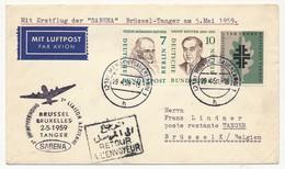 ALLEMAGNE BERLIN - 1ère Liaison Aérienne BRUXELLES - TANGER 2.5.1959 - SABENA - Briefe U. Dokumente