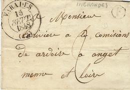 1848- Lettre De VARADES ( Loire Inférieure  ) Cad T13 +F Boite Rurale D'Ingrandes - Postmark Collection (Covers)