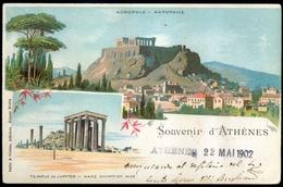 Greece Athens Litho Acropolis & Jupiter Temple 1902 To Torino Turin Italy Edition Pallis & Cotzias - Grecia