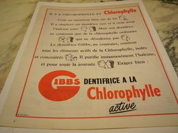 ANCIENNE PUBLICITE DENTIFRICE A LA CHLOROPHYLLE GIBBS  1954 - Parfum & Cosmetica