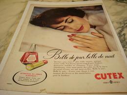 ANCIENNE PUBLICITE BELLE DE JOUR BELLE DE NUIT CUTEX 1956 - Parfums & Beauté