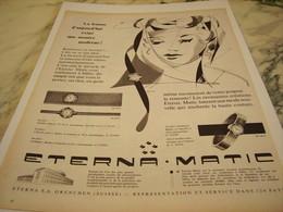 ANCIENNE PUBLICITE MONTRE MODERNE ETERNA.MATIC 1958 - Bijoux & Horlogerie