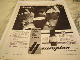 ANCIENNE PUBLICITE MONTRE ESKA D HEUROPLAN 1959 - Bijoux & Horlogerie