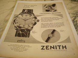 ANCIENNE PUBLICITE CHOISISSEZ  MONTRE ZENITH 1957 - Autres