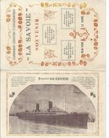 Le Paquebot T La Savoie (New York - Le Havre) 2 Cartes Et Carte Itinéraire Détaillé - Steamers