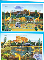 BHUTAN 1999 Dinosaurs Prehistoric Animals Reptiles 2 Sheetlets 24 Stamps MNH Scott 1217-18 Dinosaures Bhoutan - Bhutan