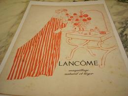 ANCIENNE PUBLICITE MAQUILLAGE NATUREL DE LANCOME  1957 - Parfum & Cosmetica